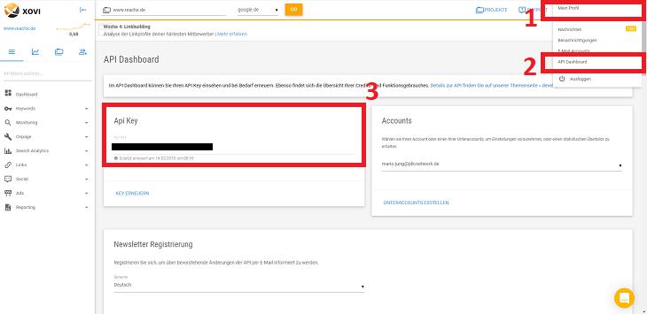 api key in xovi abrufen fuer automatisierte keyword map