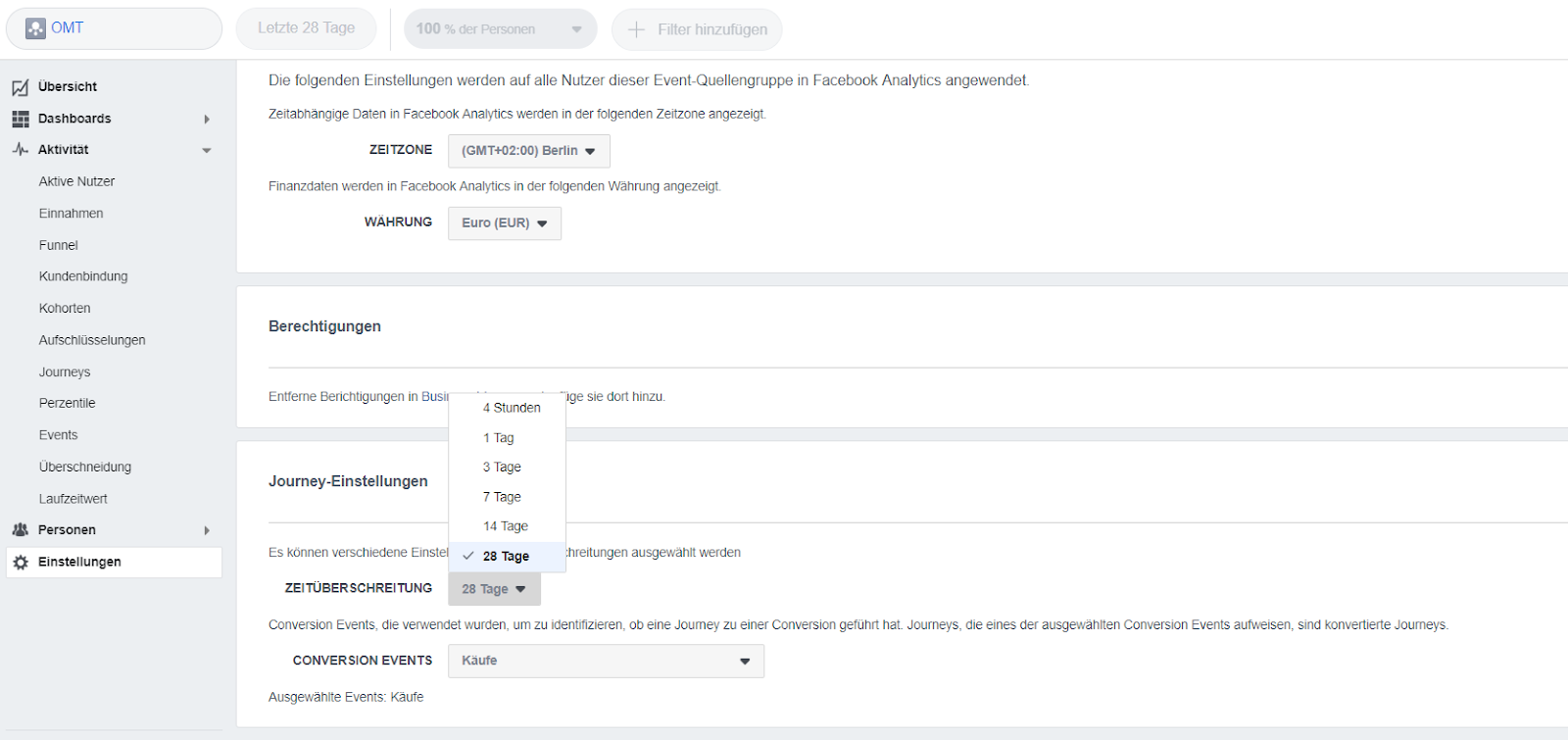 attributionsfenster facebook analytics