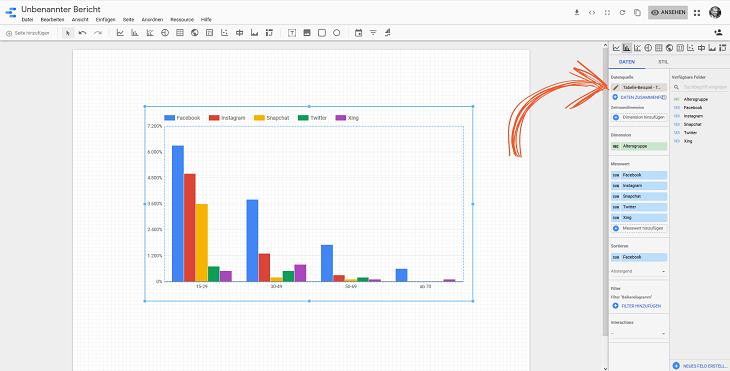 benutzerdefinierte felder aus bericht aufrufen google data studio