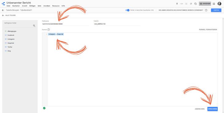 benutzerdefiniertes feld erstellen google data studio
