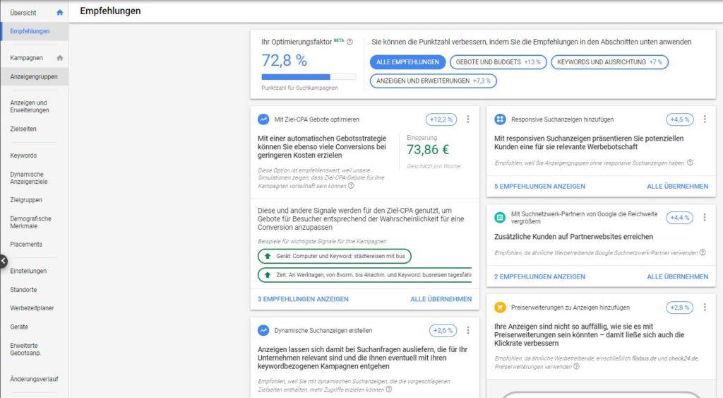 Tab Empfehlungen in Google Ads