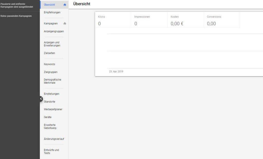 Tab Änderungsverlauf in Google Ads