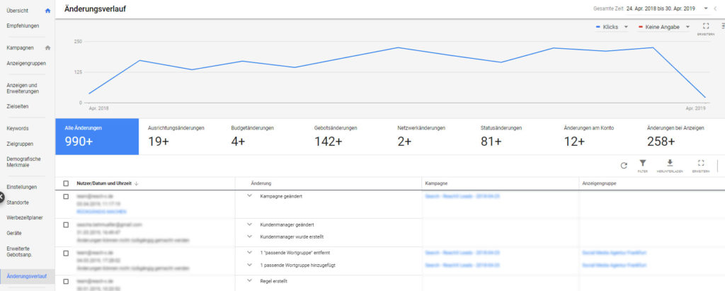Screenshot Bereiche im Google-Ads-Änderungsverlauf