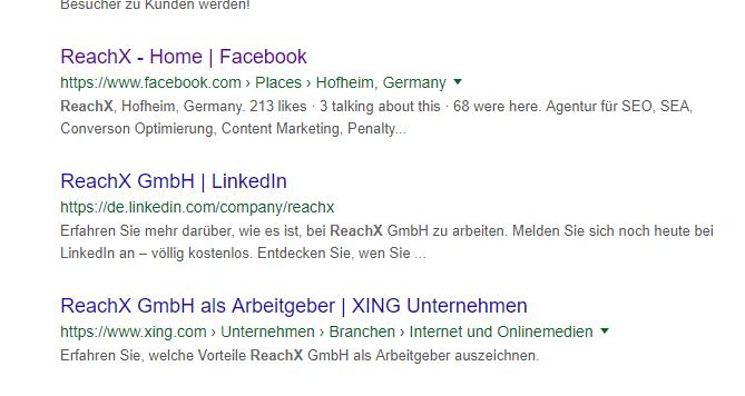 Google-Ergebnis: LinkedIn-Auftritt