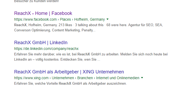 google ergebnis linkedin auftritt socialmeetsseo