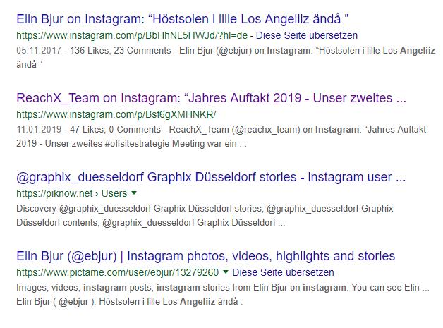 Google-Ergebnisse für Instagram-Beiträge