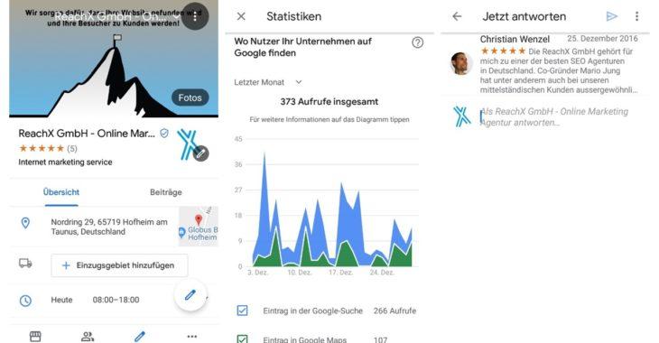 screenshot seo app google my business statistiken übersicht bewertungen
