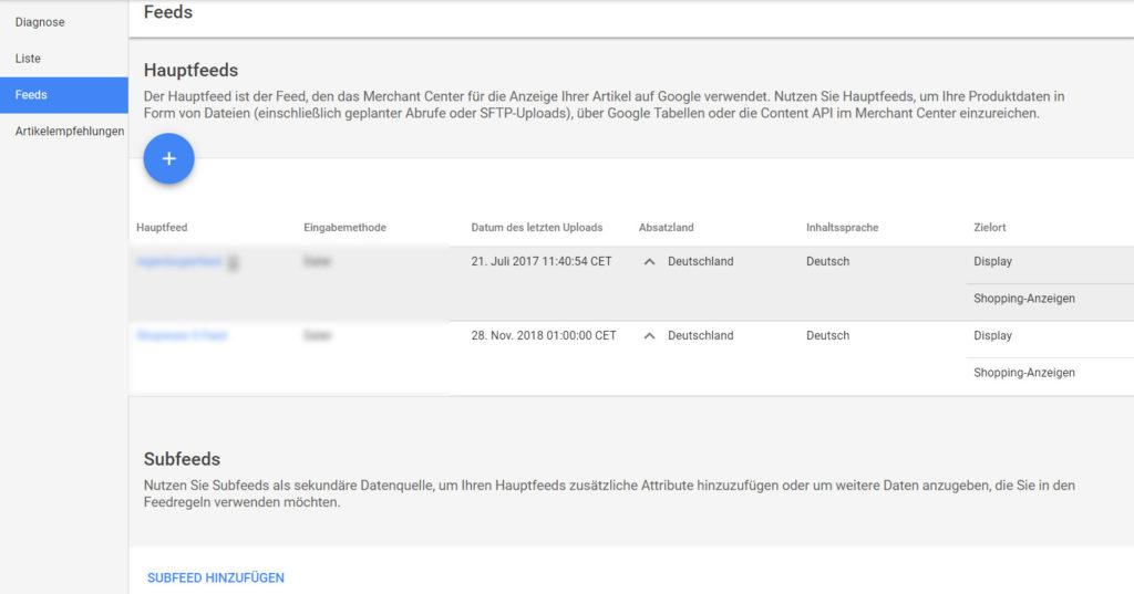 Hauptfeeds und Subfeeds im Google Merchant Center