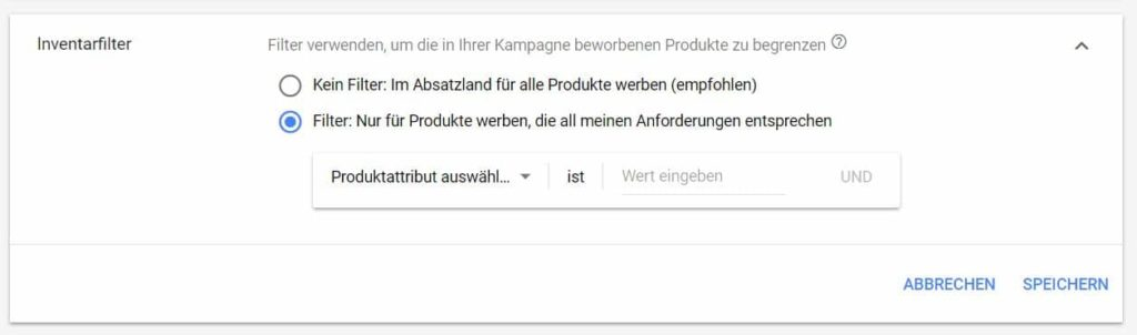 Inventarfilter in Google Shopping