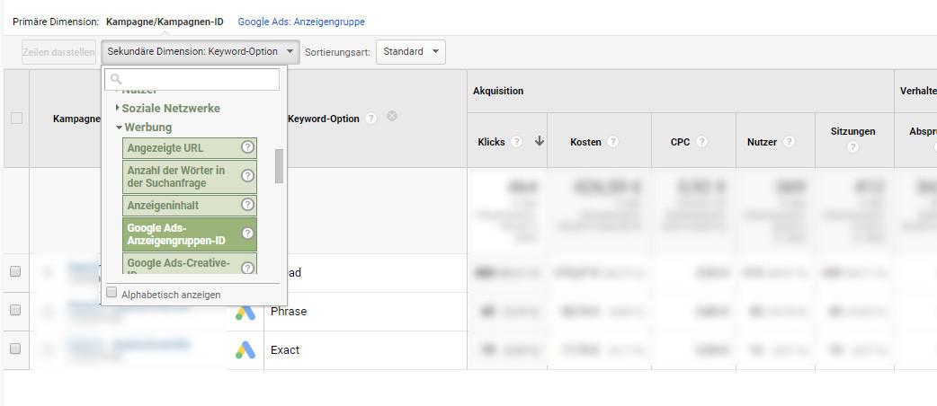 gruppe ads bericht keyword option 3 neu