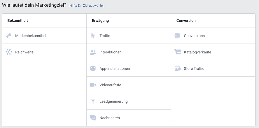 marketingziel kampagnen in facebook einstellen
