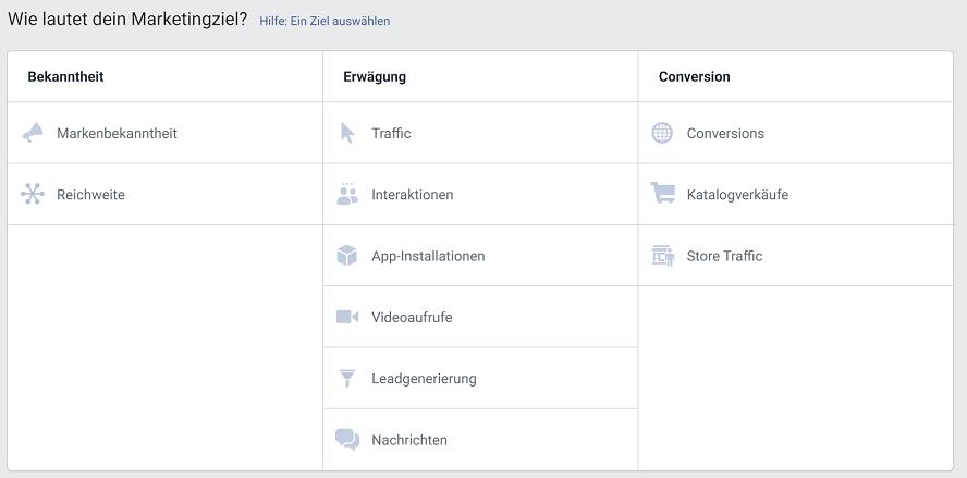 Marketingziel - Kampagnen in Facebook einstellen
