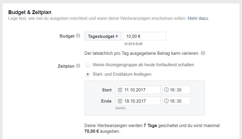 reach x.de blog B2B facebook ads für anfänger budget zeitplan