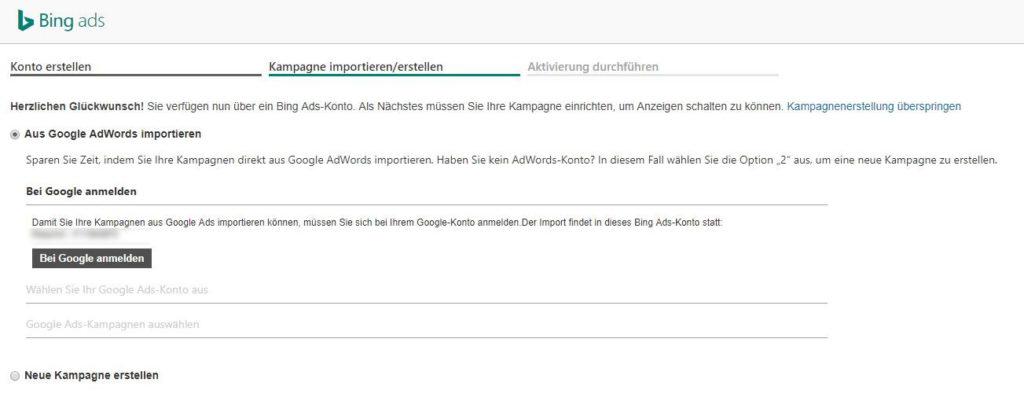 Bing Ads-Kontoerstellung