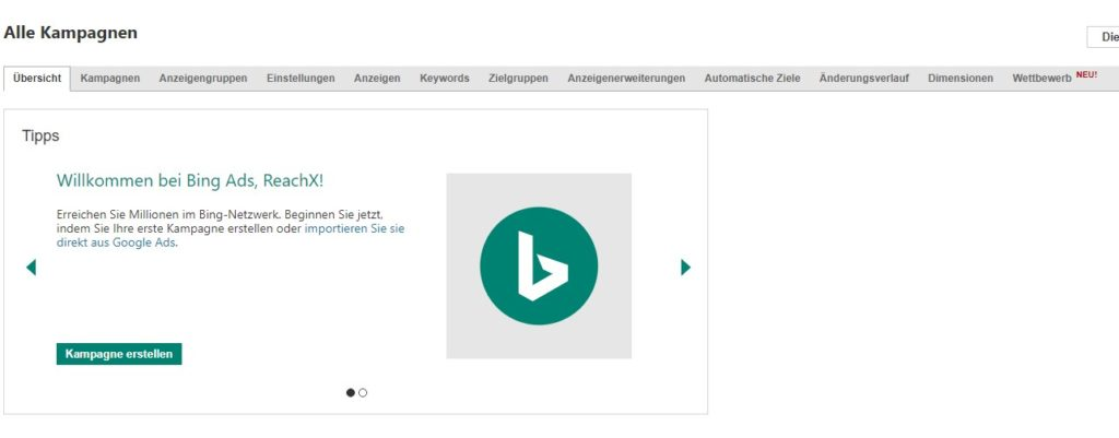 Willkommensgruß nach Einrichtung Bing Ads