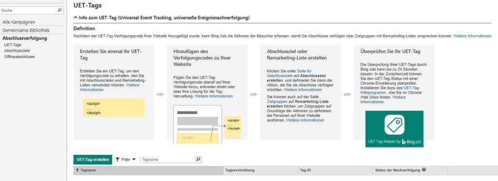 Abschlussverfolgung in Bing Ads