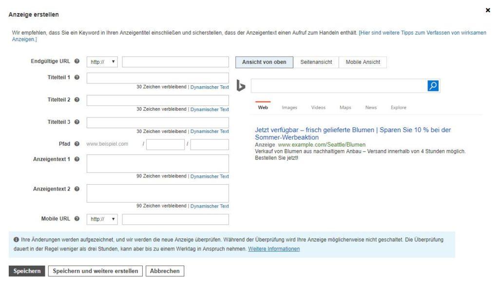 Anzeigenerstellung in Bing Ads