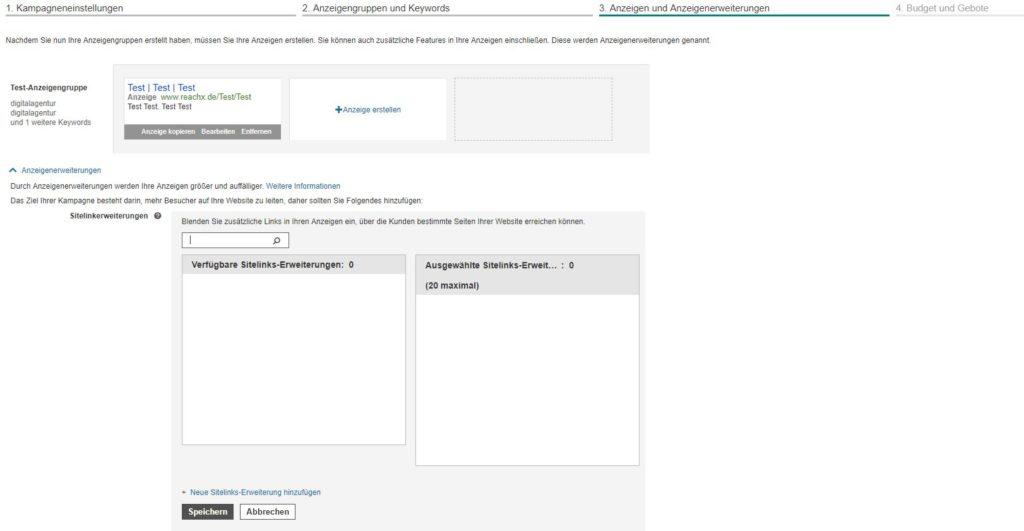 Anzeigenerweiterungen in Bing Ads definieren