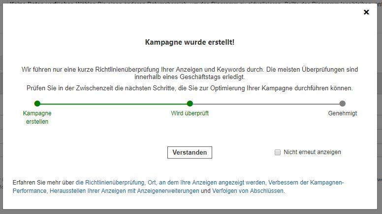 Bing Ads Richtlinienüberprüfung nach Fertigstellung Kampagne