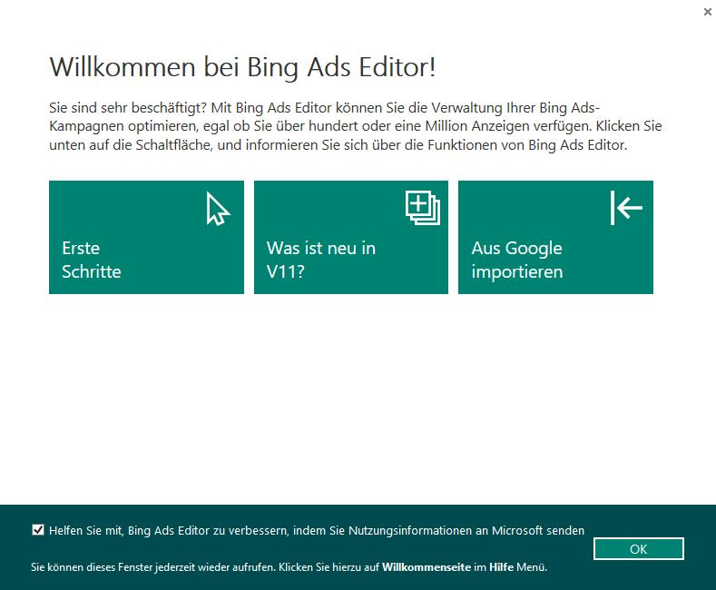 Startansicht Bing Ads Editor