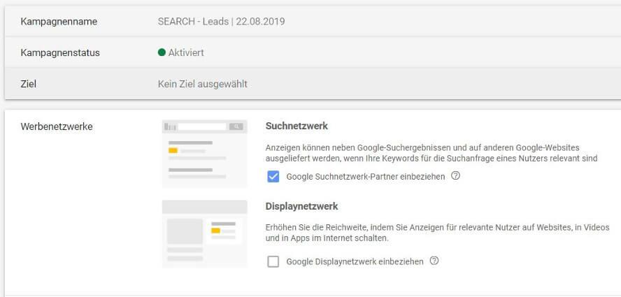 reachx fails in der google ads erstellung 04