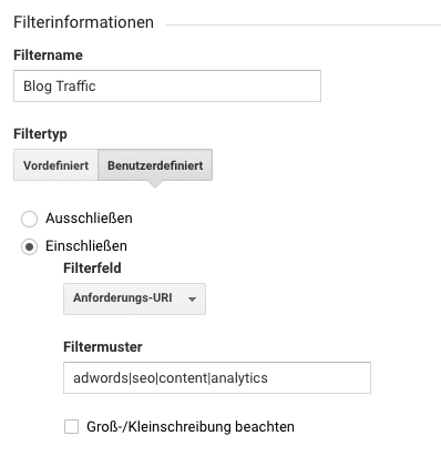regex google analytics filter