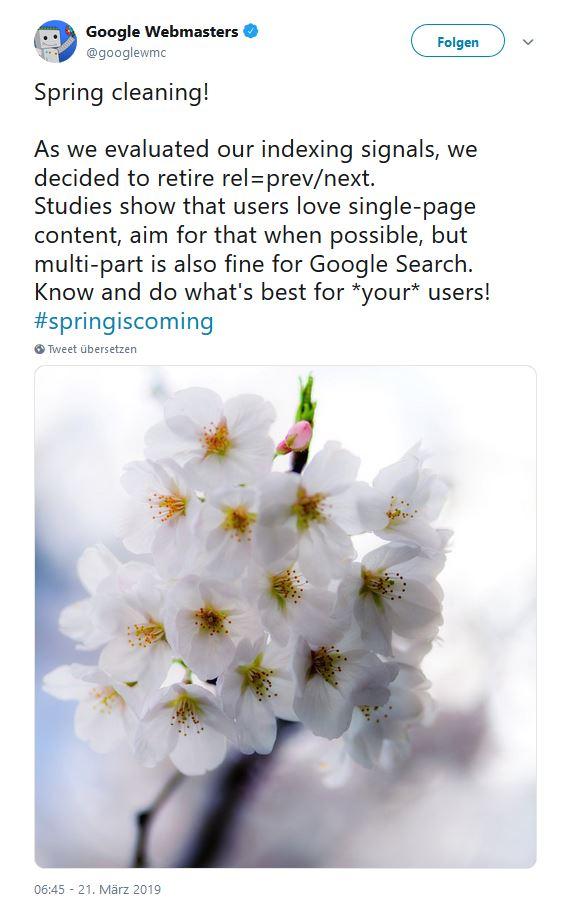 Offizielle Mitteilung von Google zum aus von rel=prev und rel=next auf https://twitter.com/googlewmc