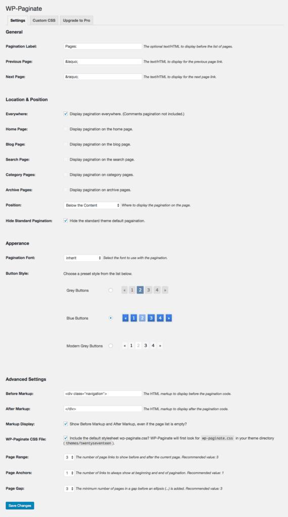 Einstellungen im WordPress-Plugin WP-Paginate