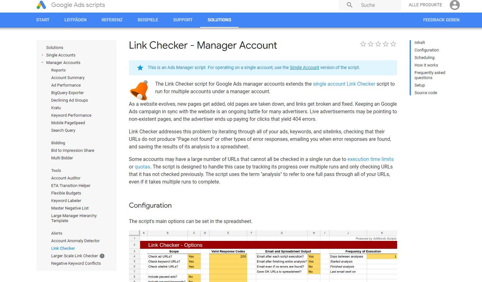 Link Checker Skript für Manager Accounts