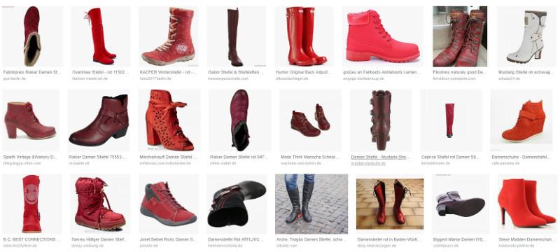 Beispielhafte Google-Shopping-Ergebnisse Damenstiefel