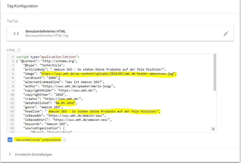 strukturierte daten benutzerdefiniertes html tag manager