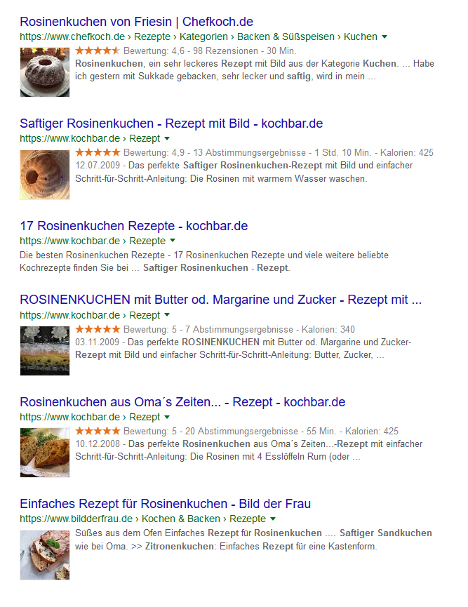 strukturierte Daten Rezepte Screenshot featured snippets