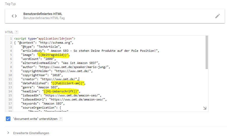 strukturierte daten variablen einfügen tag manager