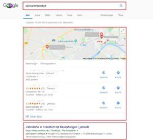 Google Suchergebnis Zahnarzt Frankfurt